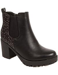 a34d11a57669eb Primtex Boots Chelsea Femme Noir à Talon épais - Bottines à Paillettes en  Simili Cuir-