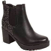 cd3e55174cdf5 Primtex Boots Chelsea Femme Noir à Talon épais - Bottines à Paillettes en  Simili Cuir-