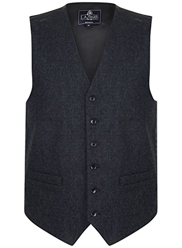 Herren Weste Blau Tweed Design (Größe L) Smith Weste