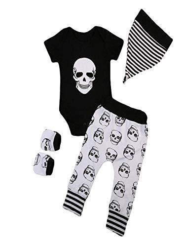 Baby Kleidung Set 4Pcs Neugeborene Jungen Mädchen Kurzarm Schädel Drucken Strampler Overall Tops+Hosen+Hut+Handschuhe Romper Outfits Spielanzug Set Halloween Kostüm von Innerternet