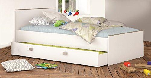 Funktionsbett Stauraumbett Bett 90x200 weiß Dekor mit Unterbettschublade