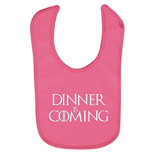 ClickInk Babero bebé Dinner is coming (Juego de tronos - parodia - Winter is coming). Regalo original. Babero bebé divertido. (Rosa)