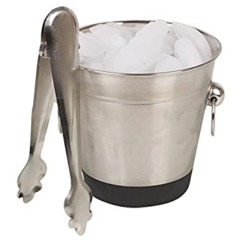 Stainless Steel Ice Bucket & Tongs Set 1