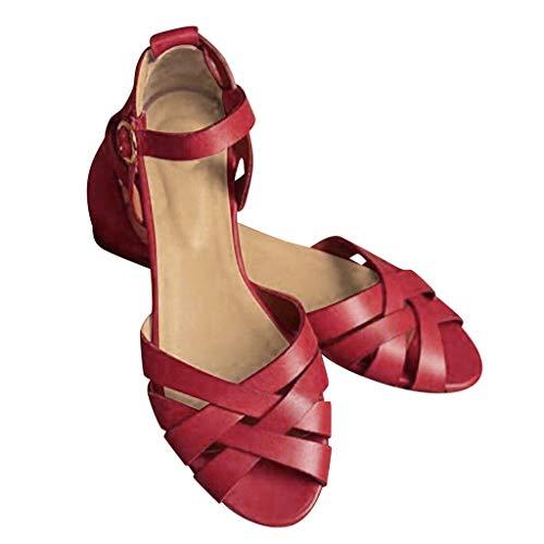 SEHRGUTGE Damen Retro Cross Straps Gladiatoren, Ankle Buckle Strap Sommer Sandalen, Peep Toe Roman Sandal Schuhe, Größe 4-8 UK