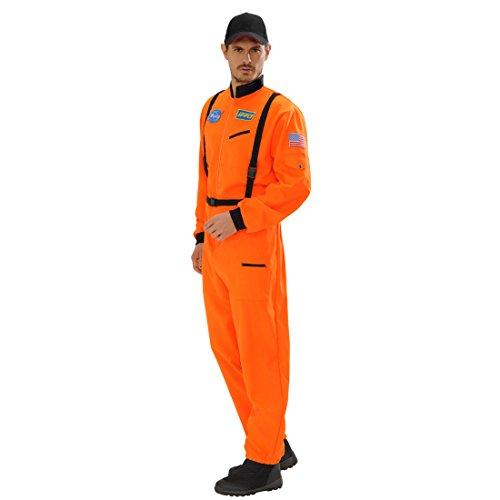 orange Overall Astronautenkostüm XL 54 Space Herrenkostüm Astronaut Astronautenanzug Karnevalskostüme Herren Ganzkörper Weltraumanzug Verkleidung Weltall Faschingskostüm (Astronaut Kostüm Orange)