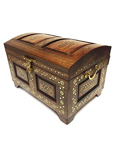 Orientalische Truhe Kiste aus Holz Faria gross 45cm groß in Braun   Vintage Sitzbank mit...