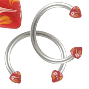 16g 16 gauge 1.2mm 1/2 12mm steel eyebrow lip bars ear tragus horseshoe rings circular barbells hand painted cones AGRF Body Piercing Jewellery 2pcs