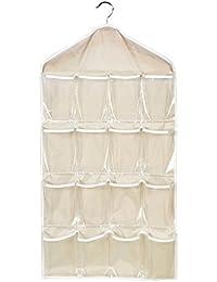Meliya 16poches transparentes Armoire à suspendre Sacs à chaussures Cintre Sous-vêtements Chaussettes Soutien-gorge Slip Rangement Dressing Rangement pour