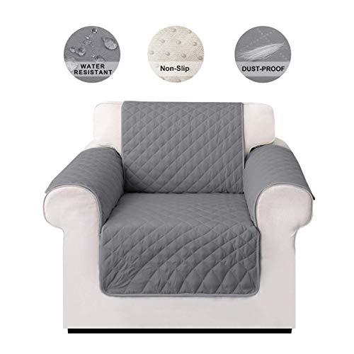 LIVACASA Sesselschoner Sofaschoner rutschfest Sofaüberwurf Wasserabweisend Gesteppte Sesselschutz Sofa Abdeckung Cover Schoner Schonbezug Schutz Überzug Grau 1-Sitzer