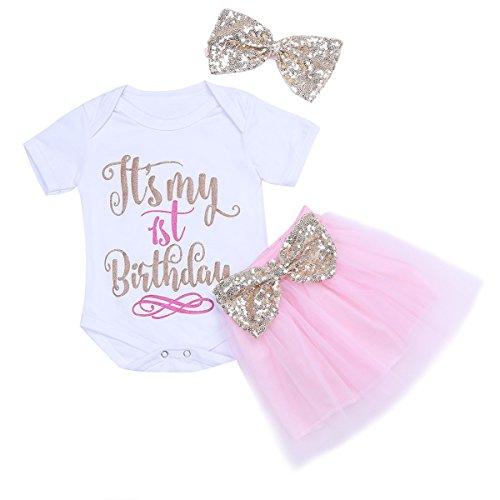 Freebily Baby Mädchen Kleidung Set Strampler + Tutu Kleid + Stirnband 1. Geburtstag Partykleid Outfits 50-80 Weiß & Rosa 74-80 / 9-12 Monate