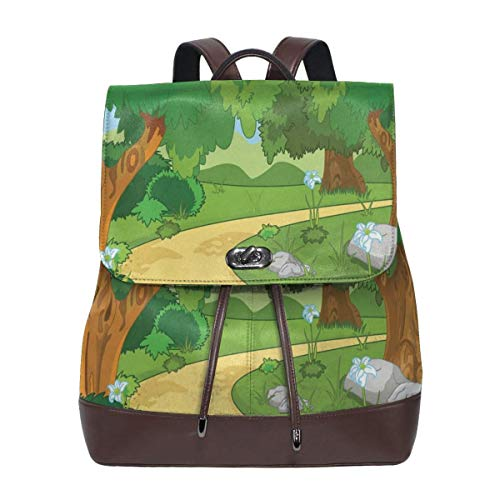 Women's Leather Backpack,Children Cartoon Environment Woodland Park with Pathway Blossoming Flowers and Trees,School Travel Girls Ladies Rucksack -