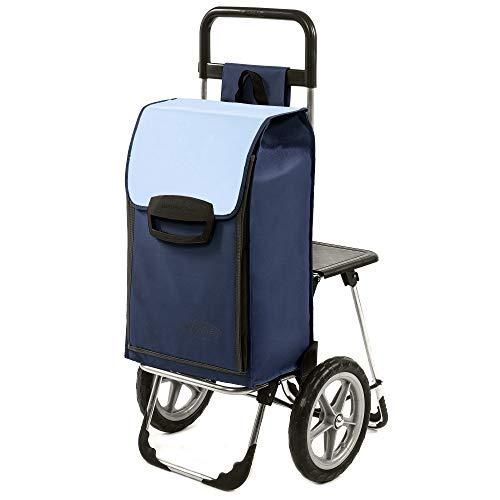 Einkaufstrolley Fajena blau mit Klappsitz & Kühlfach - 65 Liter Volumen - Einkaufsroller mit Sitz & großen, abnehmbaren Rädern