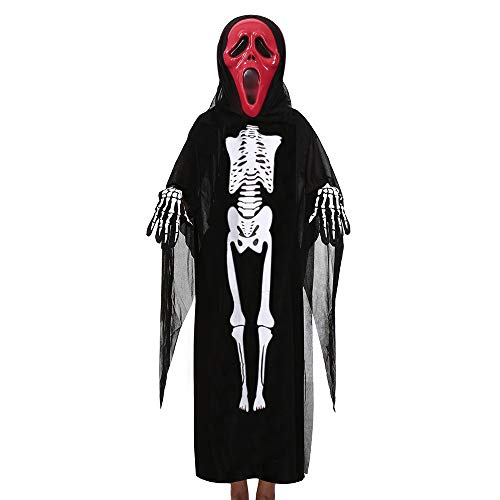 Ansenesna Halloween Kostüm Mädchen Jungs Skelett Cosplay Gruselig Mantel + Maske + Handschuhe Outfits Set (B)