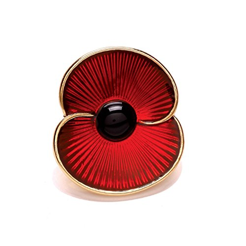 3pcs Red Poppy Brooches Lapel Pin Badges Diamante Crystal