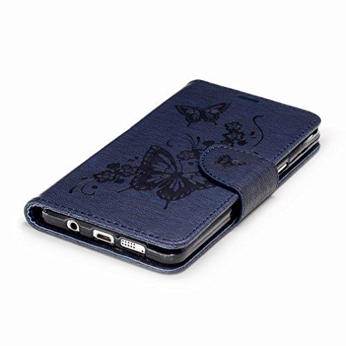 Yiizy Samsung Galaxy A5 (2016) / A510F / A510M Custodia Cover, Fiore Di Farfalla Design Sottile Flip Portafoglio PU Pelle Cuoio Copertura Shell Case Slot Schede Cavalletto Stile Libro Bumper Protettiv Blu Profondo