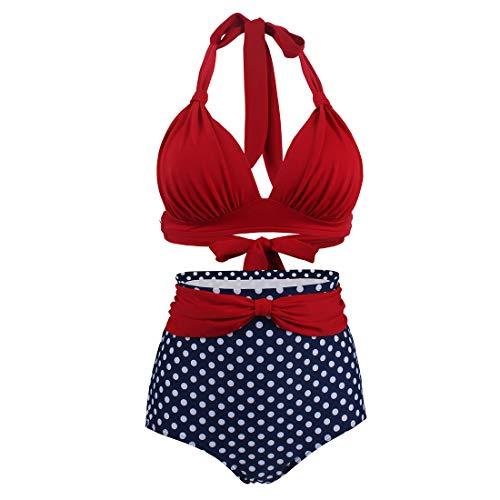 GWELL Damen Retro Blumen Bikini Set Neckholder Hohe Taille Badeanzug Sommer Strand Bademode Beachwear Swimwear Rot XL -