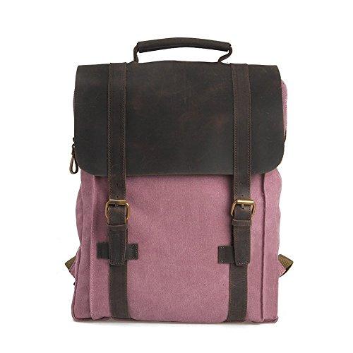Canvas Rucksack, P.KU.VDSL 15 zoll Laptoprucksack Wanderrucksack Vintage Canvas Leder Schultasche Reisetasche Daypacks Backpack für Uni Outdoor Sports Freizeit (A-Rose) (Womens Rose Vintage)