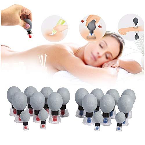 HIXGB Vakuum Schröpfen Set Akupunktur Physiotherapie Magnet Schröpfen Massager - Massage Muskelgelenk Schmerzlinderung - Geeignet für Home Office (18 Stücke)