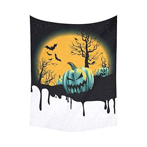 l Hanging Full Moon a Dripping Halloween Background with Pumpkin 80 X 60 Inch Wall Art for Living Room Bedroom Dorm Decor ()