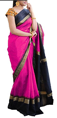 Saree (Purvi Fashion Pink Cotton Silk Plain Bhagalpuri Type Casual wearing With Blouse Women's Saree)  available at amazon for Rs.359