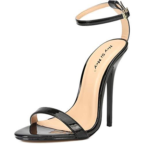 PPFME Damen Sandalen Knöchelriemen Sexy Stiletto High Heel Schuhe Damen Peep Toe Elegant Kleid Prom Pumps,Schwarz-EU38=240 (Damen Schwarz Schuhe Kleid)