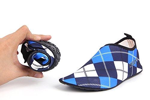 HYSENM Scarpa acquatico 360° Flessibile resistente asciugatura rapida suola antiscivolo per sport spiaggia piscina Surf condotta Yoga blu