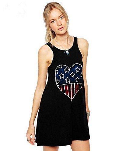 PU&PU Robe Aux femmes Ample Street Chic,Imprimé Col Arrondi Au dessus du genou Polyester BLACK-S