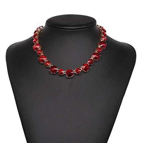 QMangel Damen Halskette,Mode Original Punkt Mosaik Glas Diamant Halsreif Elegante Damen Kostüm Ball Hundert Passenden Schmuck Halskette Rot