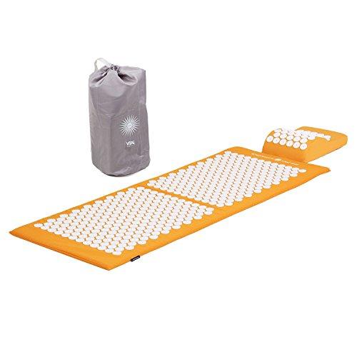 Akupressur-Set VITAL XL (orange): Akupressurmatte (130 x 50cm) & Akupressurkissen im günstigen Set, vitalisierende Matte für den Rücken und Kissen für den Nacken, wohltuende Entspannungsmatte & Kissen