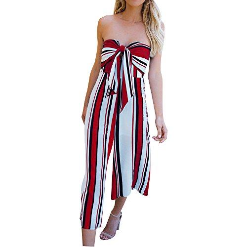 Damen Mode Streifen Lang Hosen Overall mit Bowknot Sexy Schulterfrei Sommer Bleistifthosen Hohe Taille Spielanzug Geteilter Hosen Frauen Freizeit Streetwear Rückenfrei Outfit (Rot, S)