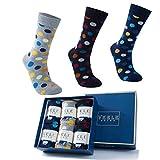 Vkele 6 Paar Damensocken & Herrensocken, Crew Socken, gepunktet und geringelt, socken box, 43 44 45 46, Baumwolle, Geschenk