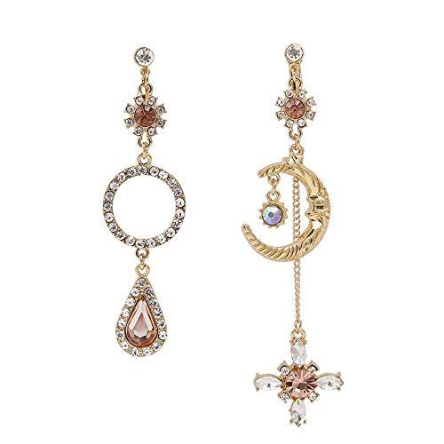 E-H Temperament Asymmetrische Halbmond Diamant Ohrstecker Einfache Idee Ohrringe Quaste Einfache Idee Ohrringe (Diamant-halbmond Halskette)