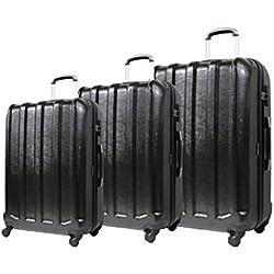 Equipaje-Juego de 3 maletas con ruedas 4-Carcasa Ultra resistente, ligera y policarbonato (Juego de 3 maletas de ICEPAK) Negro negro Set de 3