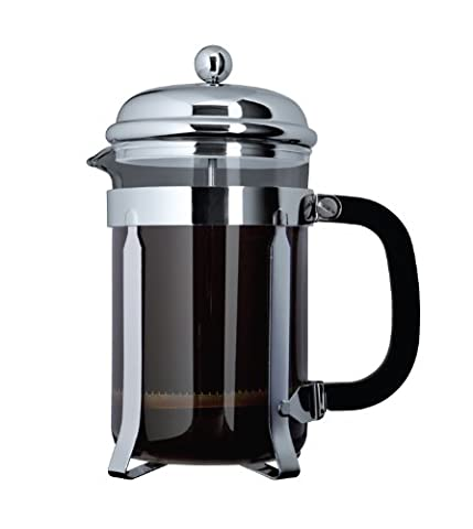 Cafe Ole by Grunwerg 3-Cup Classic Coffee Maker Glass Cafetiere, Chrome Finish, 350 ml 0.35 Litre
