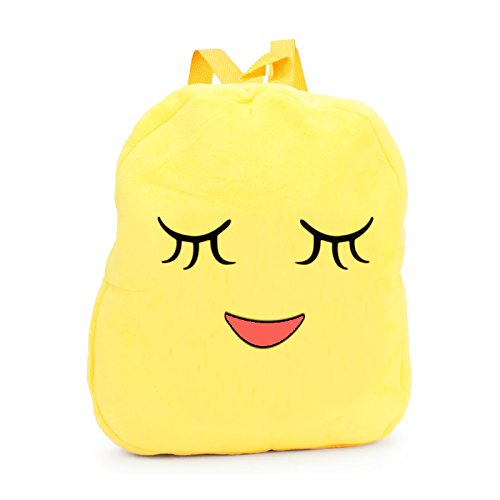 Pleased Face Smiley Design Yellow Bag Soft Toy Preschool Carry Backpack- 10.2 inches
