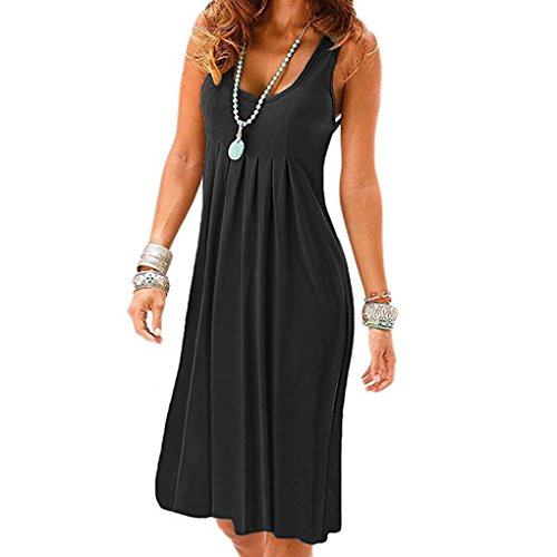 KaloryWee Dresses Women's Summer Casual Sleeveless Mini Plain Pleated Tank Vest Dresses