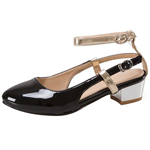 TAOFFEN Damen Mode-Event Mid Heel Office Sandalen Blockabsatz Geschlossene Toe Sommer Schuhe Schwarz