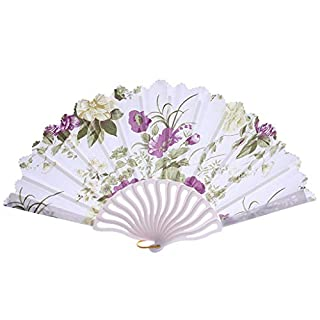 MEETEW Floarl Folding Hand Held Fans for Women - Spanish/Chinese/Japanese Vintage Retro Fabric Fans for Wedding, Church, Party, Gifts