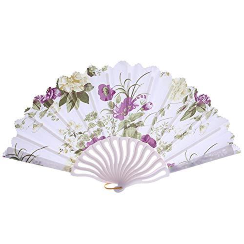 Splrit-MAN Blumenmuster Faltbar ausgehöhlt Bambus Fan Hand Japanischer Faltfächer Handfächer mit Quaste für Den Gartenfeste, Hochzeiten im Freien, Geschenke