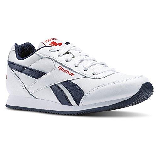 Reebok Royal Classic Jogger 2.0, Chaussures de Course Garçon, Blanc Blanco / Azul / Rojo (White/Collegiate Navy/Red Rush)