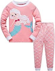 Qzrnly Bambine 2 Pezzi Pigiama a Maniche Lunghe per Ragazze Pajama Set 100% Cotone