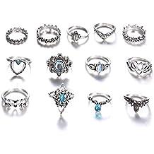 13 piezas/Set Bohemia Vintage tallada corona estrellado joya exageración rhinestone Junta nudillo conjunto anillos