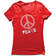lepni.me Camiseta Mujer Do You Wanna Piece of Me - Peace Slogan, 60s