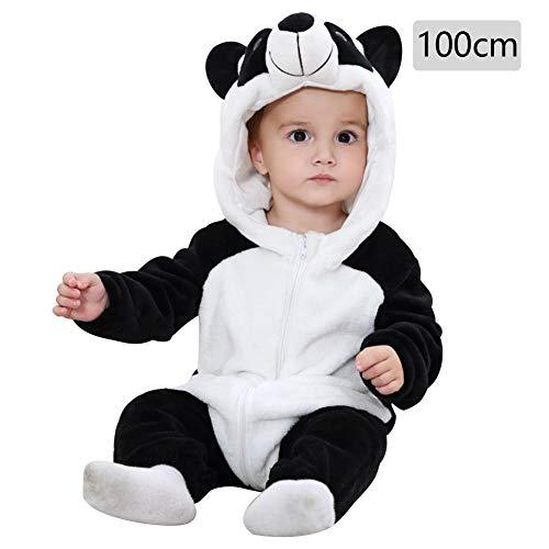 Baby Kapuzen Strampler Herbst Winter Flanell Jumpsuits Mädchen Jungen Cartoon Tier Jumpsuit Schlafanzug Kinder Kleinkind Cosplay Kostüm Vier Jahreszeiten Universal Form, merhfarbig, Panda 100cm
