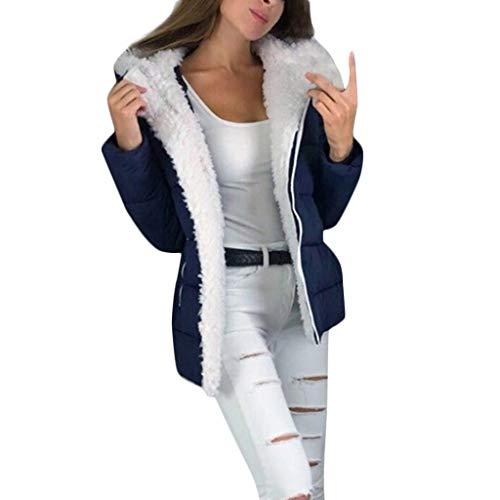 TIZUPI Fashion Mantel Damen Große Größe Jacke Langarm Kapuze Herbst Mantel Frau Winter Warme Strickjacke Plüsch Verdicken Reißverschluss Mäntel(Blau,S