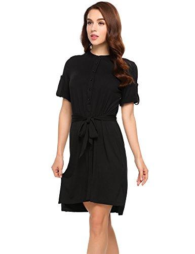 cooshional Damen Kleider mit Gürtel Elegant Sommer Cocktailkleid PartyKleid Knielang Aufrollbar Kurzarm mit Knöpfen Vorne Schwarz