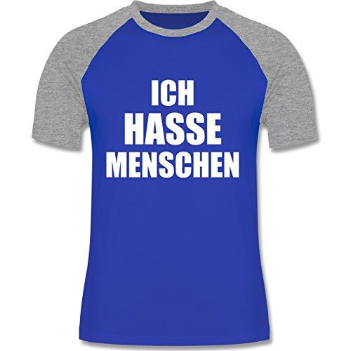 Shirtracer Statement Shirts - Ich Hasse Menschen - Herren Baseball Shirt Royalblau/Grau meliert
