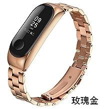 Laduup Correa de Reloj para Xiaomi Mi Band 3 Correa de Reloj de Pulsera de Acero
