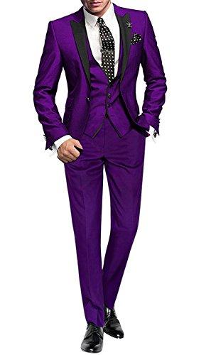 GEORGE BRIDE Herren Anzug 5-Teilig Anzug Sakko,Weste,Anzug Hose,Krawatte,Tasche Platz 002,Violett XXL