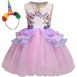 7e3736762981 AmzBarley Vestito da Festa Ragazza Bambina Fiore Ragazze Partito Abito con  Abiti da Damigella d